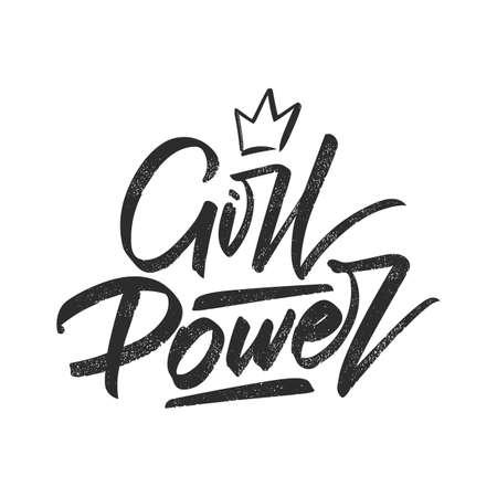 Vector illustration: Handwritten brush type lettering of Girl Power.