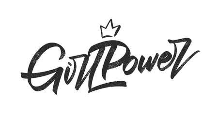 Vector illustration: Handwritten brush lettering of Girl Power