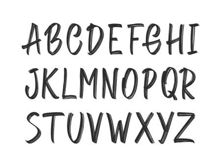 Vector illustration: Hand Drawn ink brush grunge Font. English Alphabet capital letters on white background. Vettoriali
