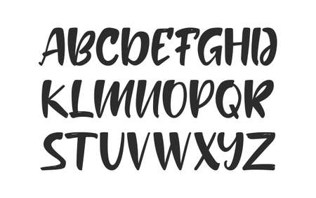 Vector illustration: Handwritten ink brush Font. English Alphabet letters on white background.