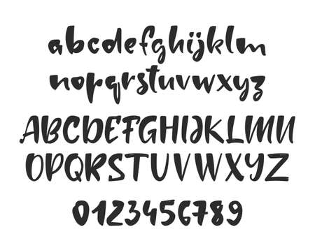 Vector illustration: Hand drawn brush Font. English Alphabet letters with Numbers