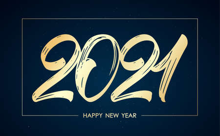 Vector illustration: Handwritten golden brush lettering of 2021 in frame on dark background. Happy New Year. 일러스트
