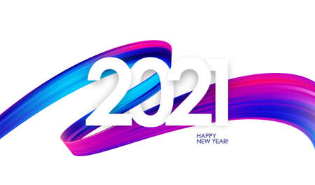 Happy New Year. Number of 2021 with colorful abstract twisted paint stroke shape. Trendy design