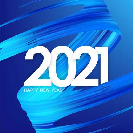 Number of 2021 with blue abstract twisted paint stroke shape. Trendy design