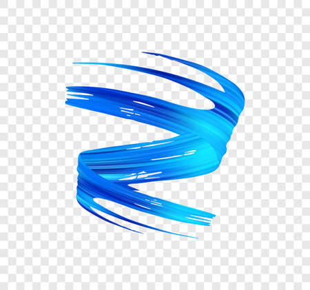 Vector 3d realistic blue brush stroke paint. Wave Liquid shape. Trendy design