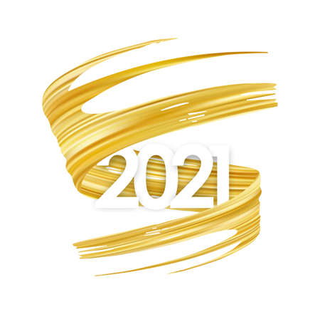 Vector Golden brush stroke oil or acrylic paint with number of 2021. New Year Poster trendy design
