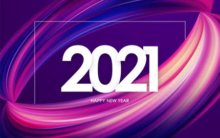 Happy New Year 2021. Greeting card with colorful abstract twisted brush stroke paint shape. Trendy design