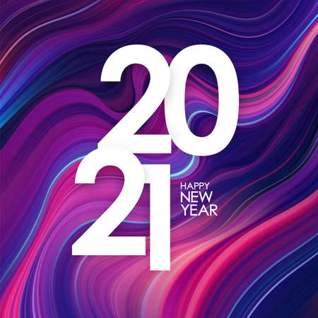 Happy New Year 2021. Greeting poster with colorful abstract twisted paint background. Trendy design