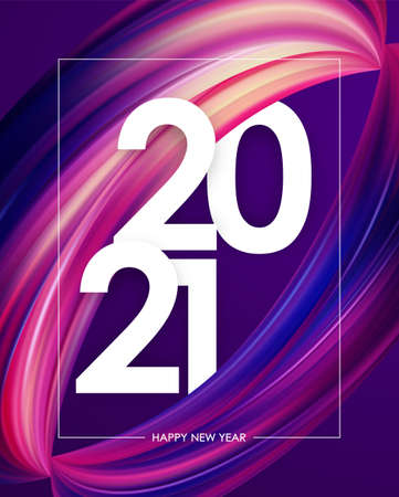 Happy New Year 2021. Greeting poster with colorful abstract twisted brush stroke paint shape. Trendy design 向量圖像