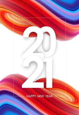 Happy New Year 2020. Greeting poster with colorful abstract fluid twisted shape. Trendy design