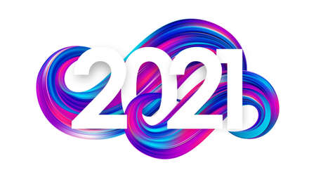 Happy New Year. Number of 2021 on colorful abstract twisted paint stroke shape background. Trendy design