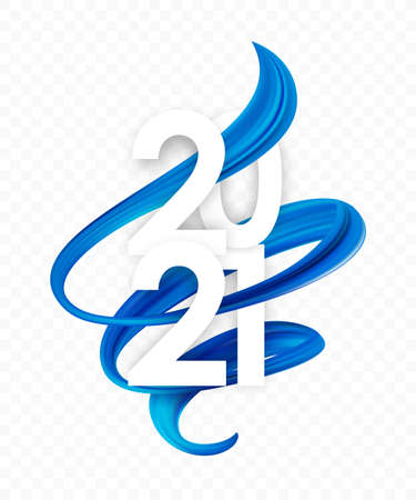 Happy New Year. Number of 2021 with blue abstract twisted paint stroke shape. Trendy design 向量圖像