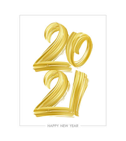 Hand drawn brush stroke golden paint lettering of 2021. Happy New Year