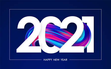 Happy New Year 2021. Greeting poster with colorful abstract twisted paint stroke shape. Trendy design