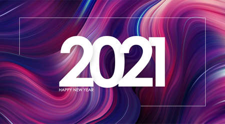 Happy New Year 2021 on modern colorful flow background Trendy design