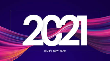 Vector illustration: Happy New Year 2021. Greeting card with colorful abstract twisted paint stroke shape