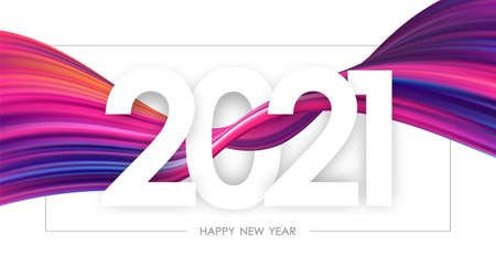 Happy New Year 2021. Greeting card with colorful abstract twisted paint stroke shape on white background.