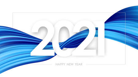 Happy New Year 2021. Greeting card with colorful twisted paint stroke shape on white background