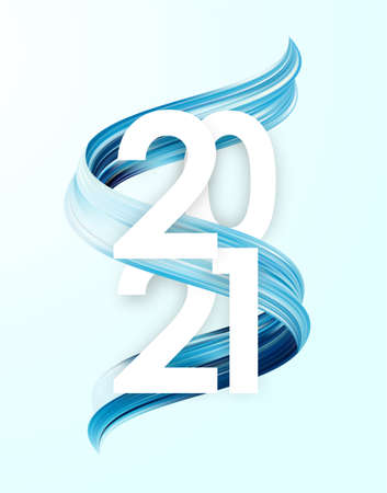 Vector illustration: Happy New Year. Number of 2021 with blue paint stroke shape. Trendy design 向量圖像
