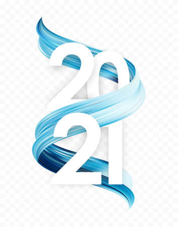 Happy New Year. Number of 2021 with blue abstract paint stroke shape. Trendy design 일러스트