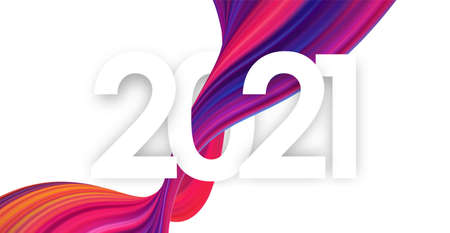 Happy New Year 2021. Template of greeting card with colorful abstract twisted paint stroke shape.