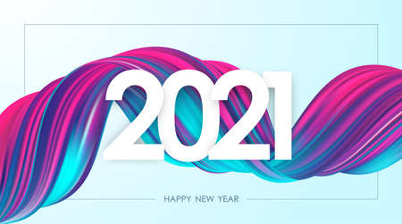Happy New Year 2021. Greeting card with neon colored twisted acrylic paint stroke shape. Trendy design