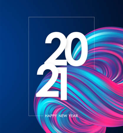 Happy New Year 2021. Greeting poster with neon colored abstract fluid shape. Trendy design