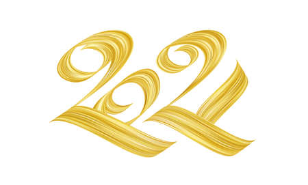 Handwritten calligraphic golden paint lettering of 2021. Happy New Year 向量圖像