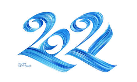 Handwritten calligraphic blue paint lettering of numbers 2021. Happy New Year