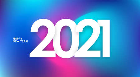 Happy New Year 2021. Greeting poster with holographic abstract background. Trendy design.
