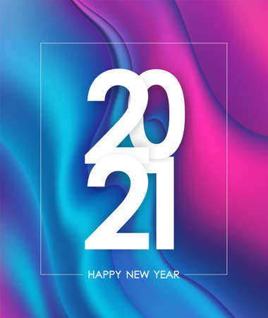 Happy New Year 2021. Greeting poster with holographic liquid background. Trendy design. 向量圖像