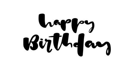 Handwritten brush lettering of Happy Birthday on white background.