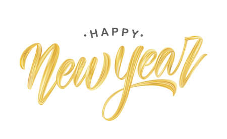 Handwritten brush stroke golden paint lettering of Happy New Year on white background