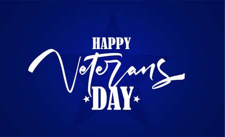 Handwritten brush type lettering composition of Veterans Day on blue background Ilustração