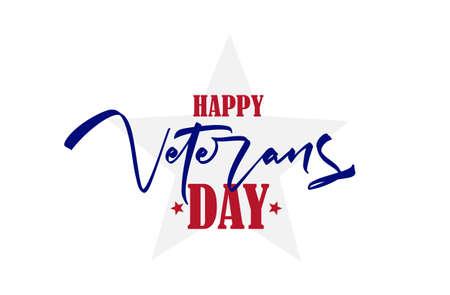 Handwritten brush type lettering composition of Veterans Day Ilustração