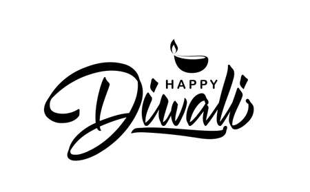 Handwritten calligraphic lettering type composition of Happy Diwali with lamp. Ilustração