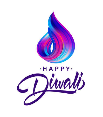 Vector illustration: Greeting card with handwritten calligraphic lettering of Happy Diwali and colorful brush stroke Ilustração