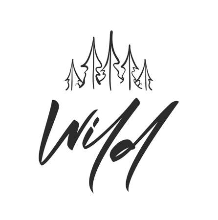 Hand drawn type lettering of Wild with sketch of Pine Forest. Brush calligraphy. Typography design.