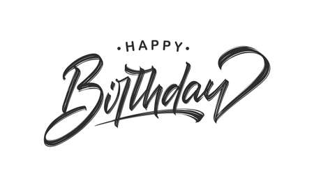 Handwritten textured brush lettering of Happy Birthday on white background.