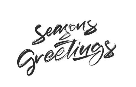 Handwritten textured brush lettering of Seasons Greetings on white background.