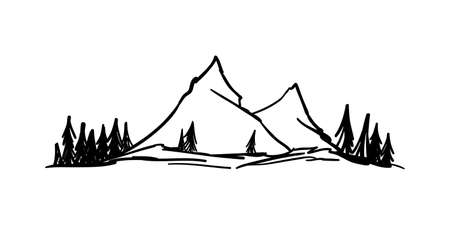 Vector Hand drawn mountains sketch. Peaks with pine forest on white background.