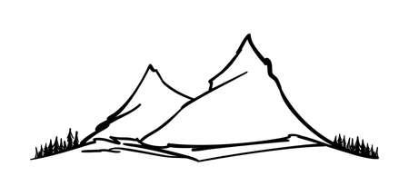 Vector Hand drawn mountain peak. Mount sketch on white background.
