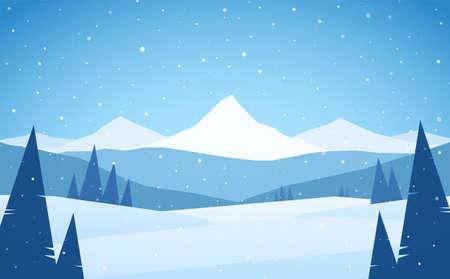 Cartoon Winter snowy Mountains landscape with hills and pines. Ilustração