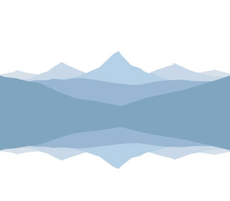 Vector Graphic Mountain Lake landscape with reflection.