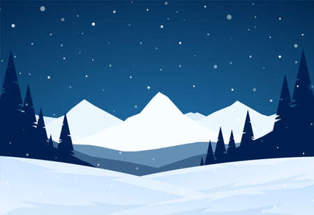 Night Winter snowy Mountains landscape with hills and pines. Ilustração