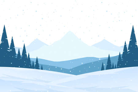 Winter snowy Mountains landscape with hills and pines.