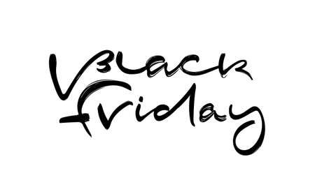 Vector illustration: Handwritten modern brush calligraphic type lettering of Black Friday on white background Ilustração