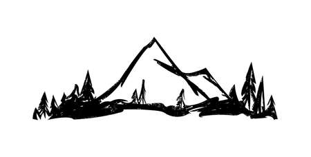 Vector Hand drawn mountains. Peaks with pine forest on white background. Çizim