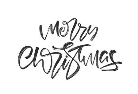 Handwritten elegant brush lettering type of Merry Christmas isolated on white background.
