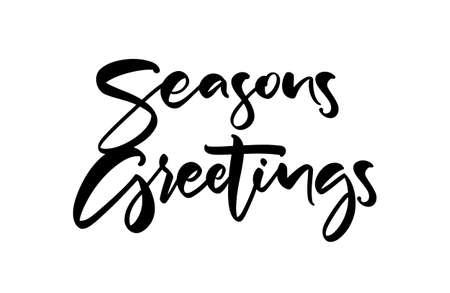 Vector illustration. Handwritten textured brush lettering of Seasons Greetings on white background.